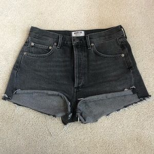 AGOLDE High Waisted Washed Black Denim Shorts